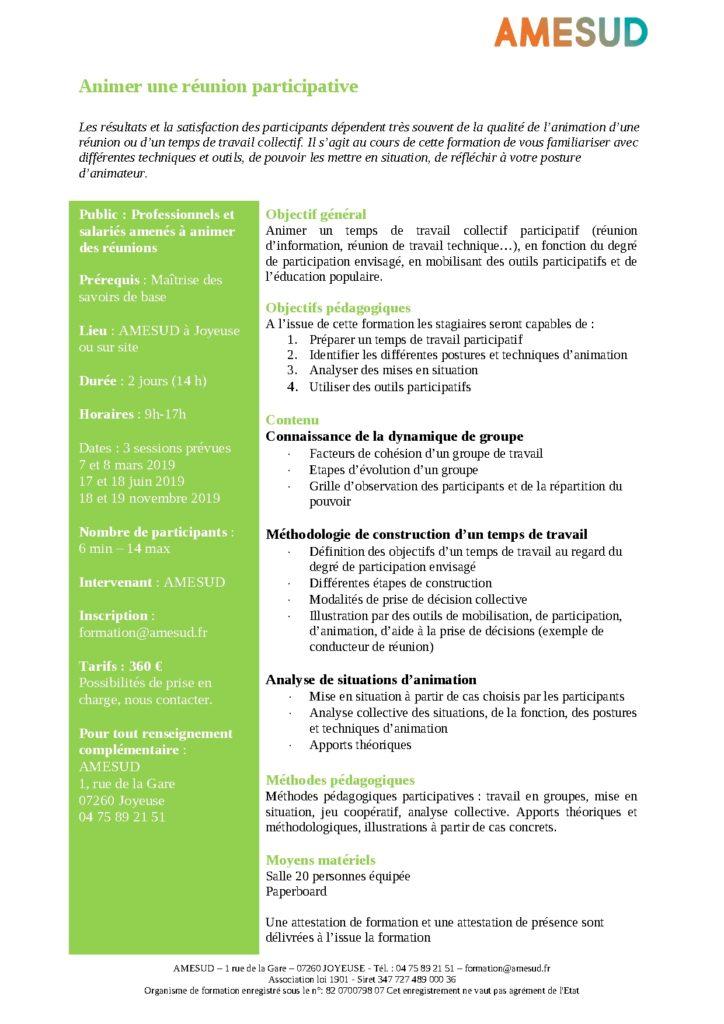 OF - Animer une réunion participative @ AMESUD | Joyeuse | Auvergne-Rhône-Alpes | France