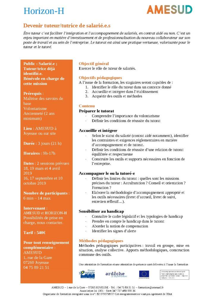 OF - Devenir tuteur/tutrice de salarié.e.s @ AMESUD | Joyeuse | Auvergne-Rhône-Alpes | France