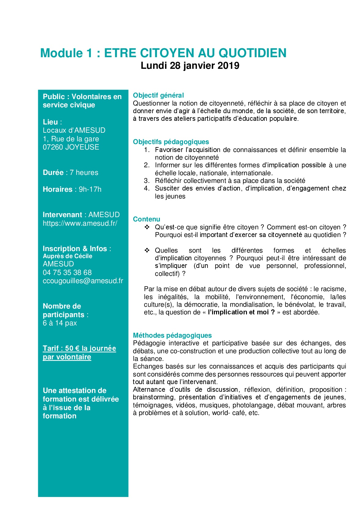 SC - Formation pour volontaires en service civique « Être citoyen au quotidien » @ AMESUD | Joyeuse | Auvergne-Rhône-Alpes | France