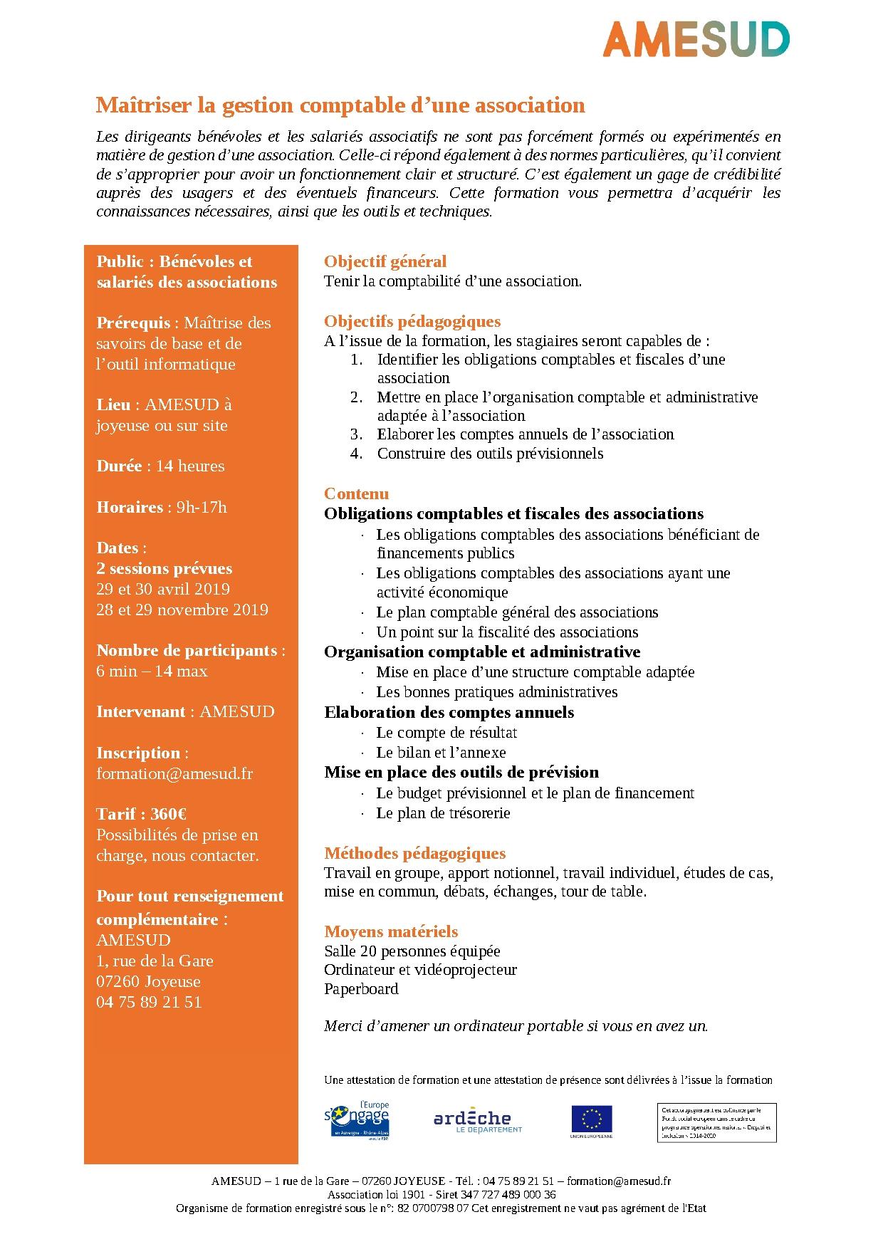 OF – Formation destinée aux bénévoles et salariés des associations - Maîtriser la gestion comptable d'une association - 29 & 30 avril 2019 - 2 jours - Joyeuse - 360€ @ AMESUD | Joyeuse | Auvergne-Rhône-Alpes | France
