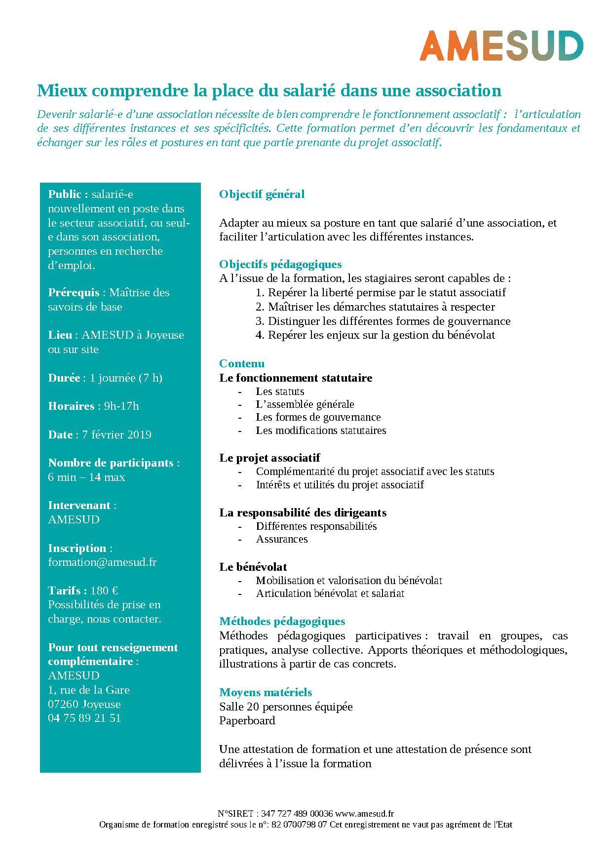 OF - Mieux comprendre la place du salarié dans une association @ AMESUD | Joyeuse | Auvergne-Rhône-Alpes | France