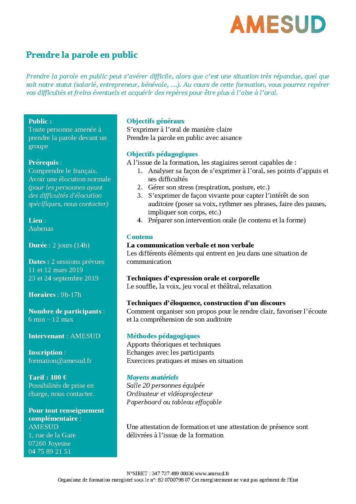 OF - Prendre la parole en public @ AMESUD | Joyeuse | Auvergne-Rhône-Alpes | France