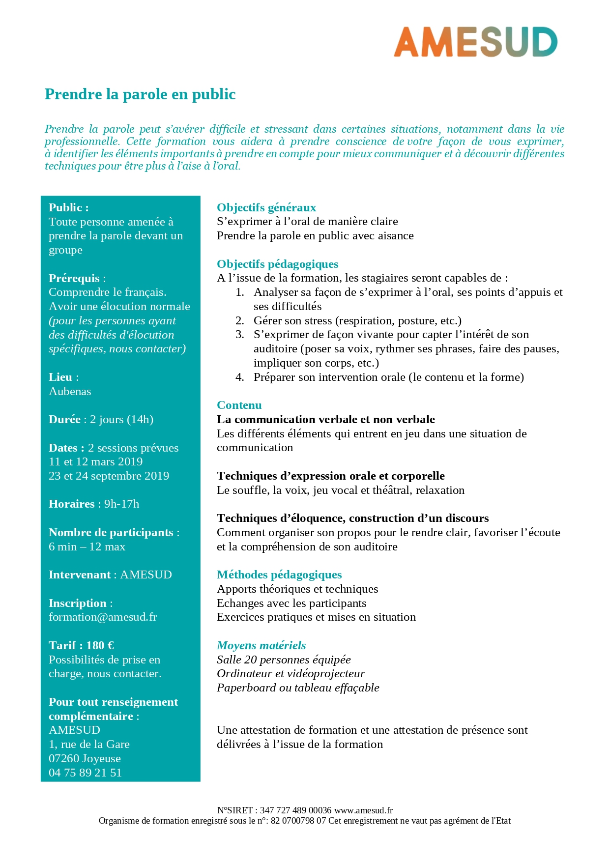 OF – Formation tous public - Prendre la parole en public - 23 & 24 sept 2019 - 2 jours - Aubenas - 360€ @ Aubenas | Joyeuse | Auvergne-Rhône-Alpes | France