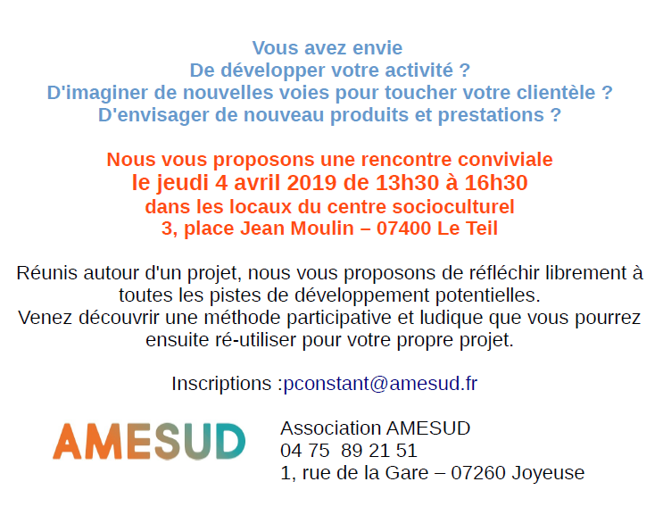 TC - Tous public - Venez présenter votre projet / venez participer - jeudi 4 avril - 3h - Le Teil - Gratuit @ Centre socioculturel | Le Teil | Auvergne-Rhône-Alpes | France