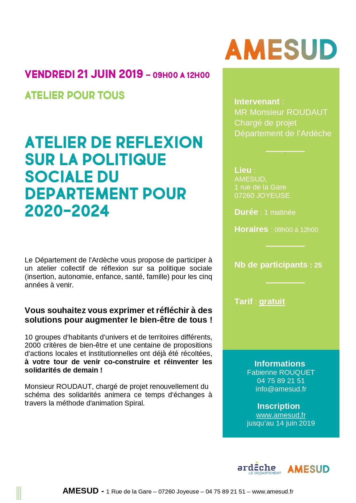 AU - Tout public - ATELIER DE REFLEXION SUR LA POLITIQUE SOCIALE DU DEPARTEMENT - 21 juin - 09h00 à 12h00 - Joyeuse -  Gratuit @ AMESUD | Joyeuse | Auvergne-Rhône-Alpes | France