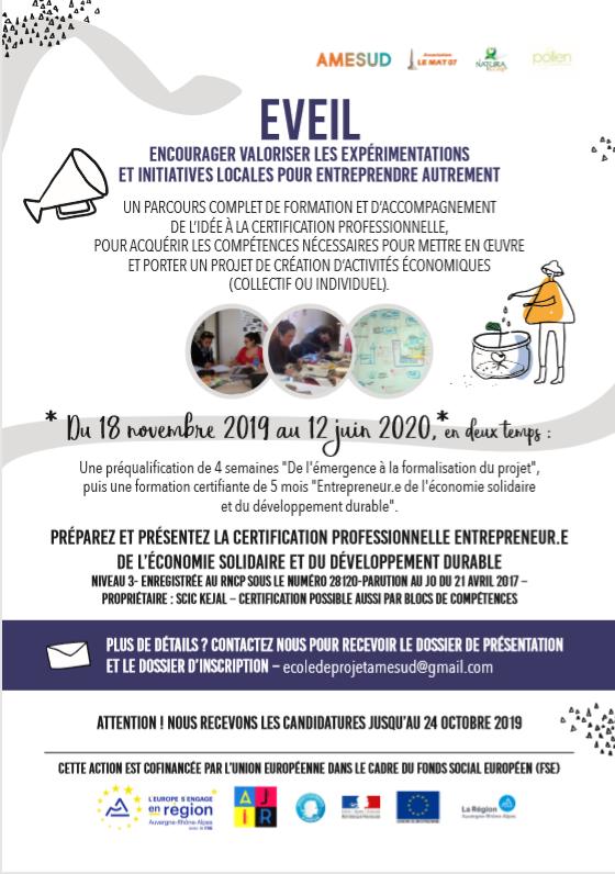 AU - EVEIL : Encourager valoriser les Expérimentations et Initiatives Locales Pour entreprendre Autrement - Joyeuse - 18 nov au 12 juin en deux étapes - Amesud - COMPLET @ AMESUD | Joyeuse | Auvergne-Rhône-Alpes | France